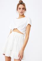 Factorie - Textured tiered skirt - white