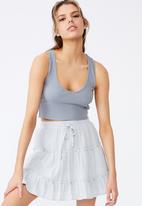 Factorie - Textured tiered skirt - slate grey