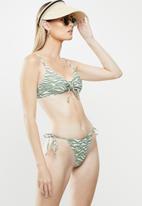 Cotton On - Gathered tie brazilian bikini bottom - green & white