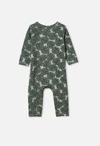 Cotton On - The long sleeve snap romper - smashed avo/tropical leaves