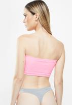 Cotton On - Seamfree rib bandeau 2 pack - white & pink
