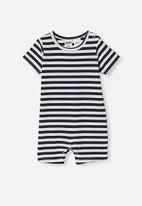 Cotton On - The short sleeve romper - stripe navy /vanilla