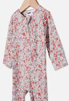 Cotton On - The long sleeve zip romper - vanilla/garden floral