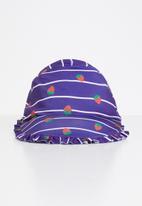 POP CANDY - Strawberry stripe frill trim sunhat - navy