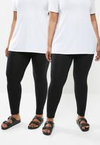 Missguided - Plus 2 pack full length legging - black