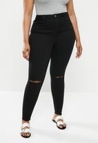 Missguided - Plus lawless slash knee highwaisted supersoft - black