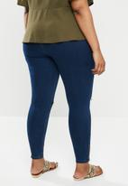 Missguided - Plus lawless slash knee ankle zip jean - deep blue
