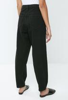 Missguided - Petite riot gold button mom jean - black