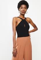 VELVET - Twist front halter bodysuit - black