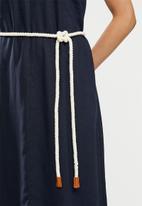 edit - V-neck swing linen dress - navy