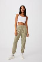 Cotton On - High waist track pant - new wheat garment pigment dye