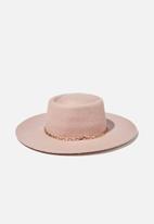 Rubi - Felicity felt boater hat - pink
