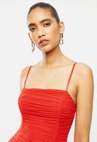 VELVET - Gauged mesh strappy midi dress - red