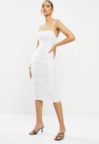 VELVET - Gauged mesh strappy midi dress - white