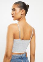Blake - Cami knot front bralette - grey melange