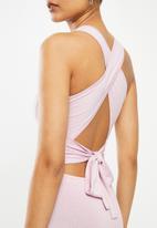 Blake - Cross over back detail mini dress - lilac