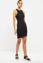 Blake - Cross over back detail mini dress - black