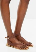 Superbalist - Siera leather ankle strap sandal - brown