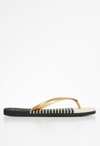 POLO - Audrey metallic stripe flip flop - gold & black