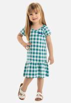 Bee Loop - Girls check dress - blue & white
