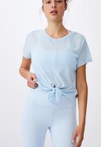 Cotton On - Tie up rib tshirt - baby blue