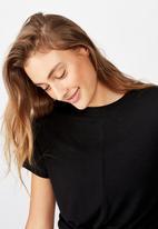 Cotton On - Tie up rib tshirt - black