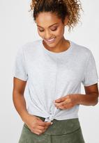 Cotton On - Tie up rib T- shirt - grey marle