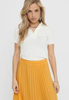 ONLY - Sophia short sleeve polo rib top - white