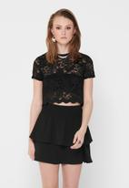 ONLY - Alba short sleeve top - black