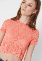 ONLY - Alba short sleeve top - peach