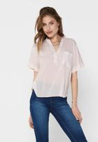 ONLY - Agnes short sleeve top - white & pink