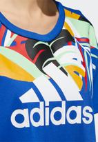 adidas Performance - Farm graphic tee - royal blue & white