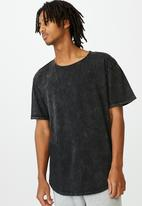 Factorie - Longline curved washed t shirt - washed black