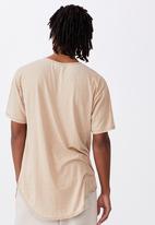 Factorie - Longline curved washed T-shirt - dirt oak
