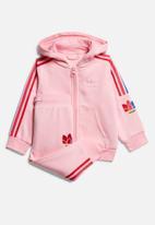 adidas Originals - 3D trefoil hoodie set - light pink