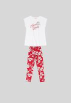 Quimby - Girls tee & floral leggings set - white & red