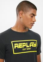 Replay - Garment dyed single jersey tee - black