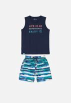 Quimby - Boys tank top & microfibre shorts set - navy