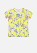 Quimby - Girls floral tee - light yellow