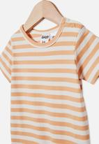 Cotton On - The short sleeve romper - hannah stripe apricot sun/vanilla