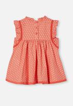 Cotton On - Tess flutter sleeve dress - red