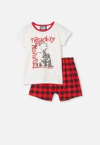 Cotton On - Hudson short sleeve pyjama set - white & red
