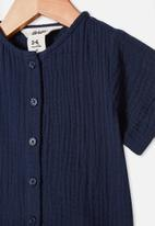 Cotton On - Mike short sleeve shirt - navy blazer