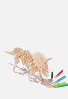 Cotton On - Wooden 3d puzzle and markers - triceratops
