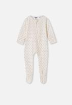 Cotton On - The long sleeve zip romper - off white & red