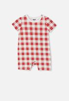 Cotton On - The short sleeve romper - red & white