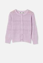 Cotton On - Sade pointelle cardigan - lilac