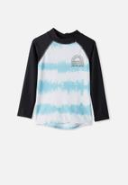 Cotton On - Flynn long sleeve raglan rash vest - blue & black