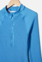 Free by Cotton On - Lindsay rib long sleeve one piece - blue