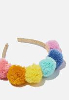 Cotton On - Headband- novelty - pastel brights pom pom